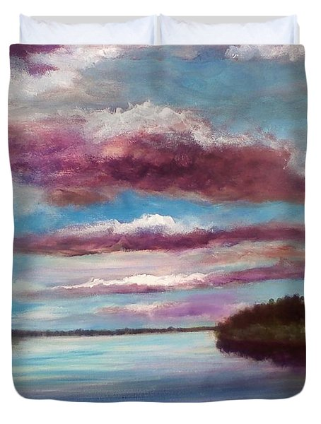 Duvet Cover featuring the painting Soon Dark by Randol Burns