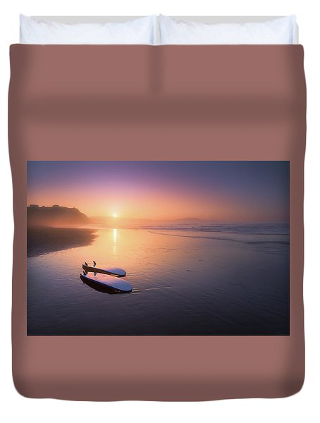Sopelana Beach With Surfboards On The Shore Duvet Cover