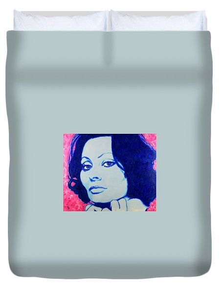 Sophia Loren Pop Art Portrait Duvet Cover