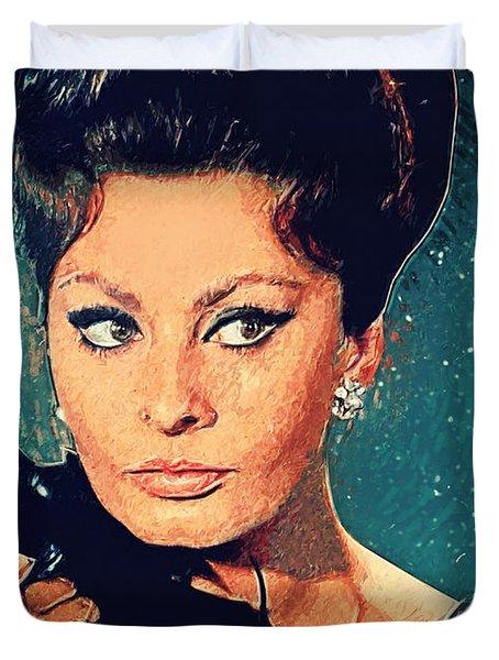 Sophia Loren Duvet Cover by Taylan Apukovska