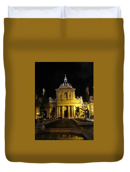Duvet Cover featuring the photograph Sorbonne Night by Christopher Kirby