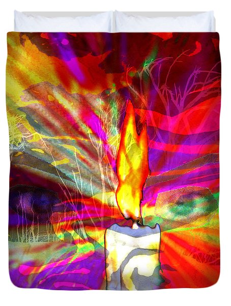 Duvet Cover featuring the digital art Sorcerer's Candle by Seth Weaver