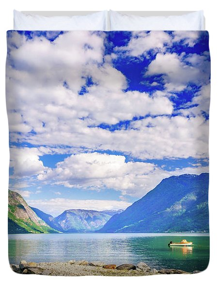 Duvet Cover featuring the photograph Soreimsfjorden by Dmytro Korol