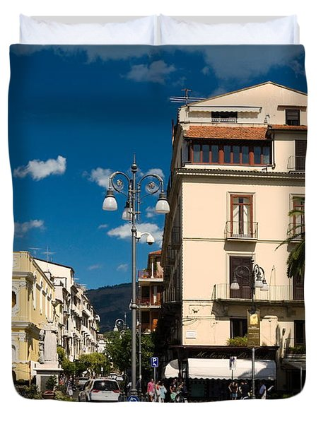 Sorrento Italy Piazza Duvet Cover