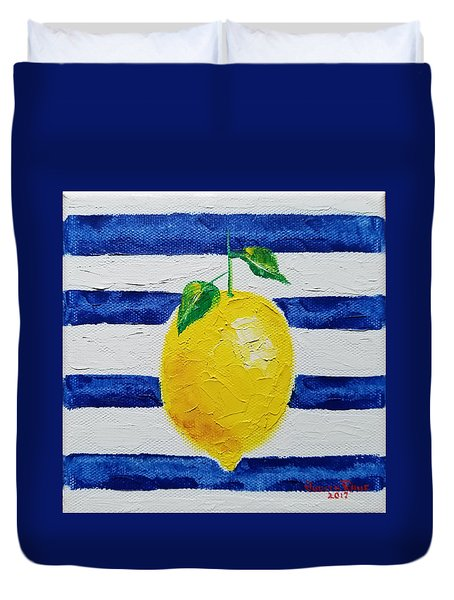 Duvet Cover featuring the painting Sorrento Lemon by Judith Rhue