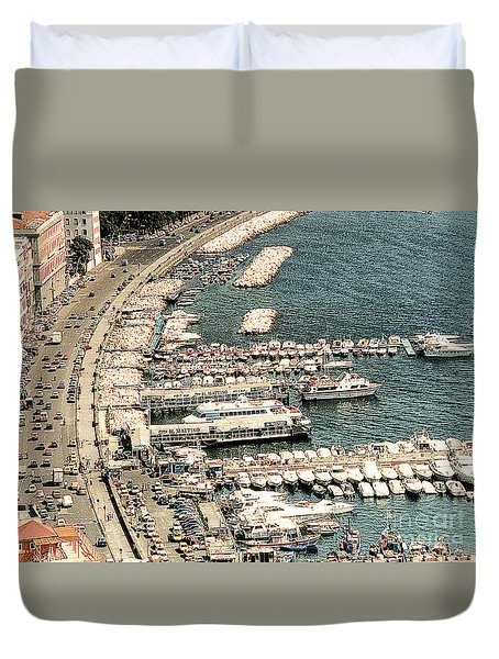 Duvet Cover featuring the photograph Sorrento's Harbor, Italy by Merton Allen