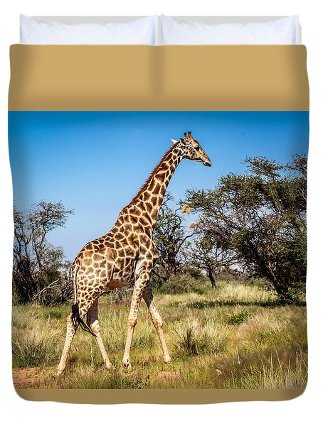 Duvet Cover featuring the photograph Sossulvei Giraffe by Gregory Daley  PPSA