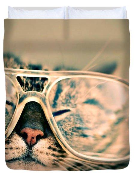 Sosy Cat With Glasses Duvet Cover