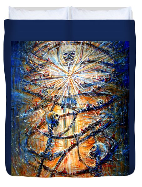 Duvet Cover featuring the painting Soul Evolution by Heather Calderon