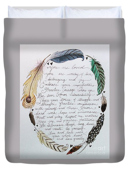 Duvet Cover featuring the painting Soul Shaping Feathers by Elizabeth Robinette Tyndall