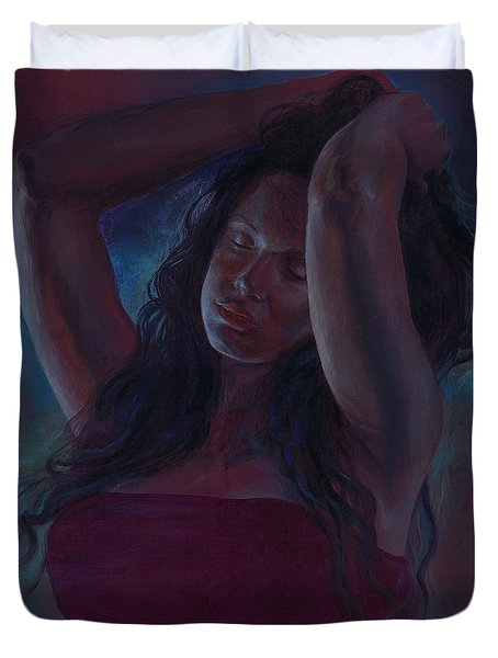 Duvet Cover featuring the painting Soul Nocturne by Ragen Mendenhall