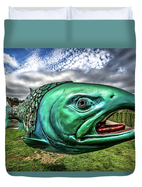 Soul Salmon In Hdr Duvet Cover by Rob Green