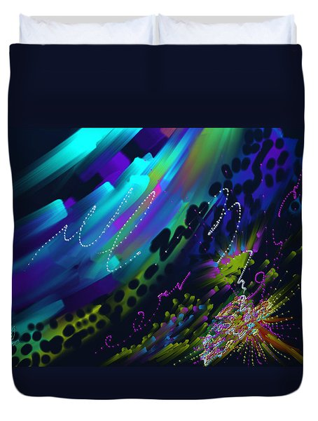 Duvet Cover featuring the painting Soul So Blue by Kevin Caudill