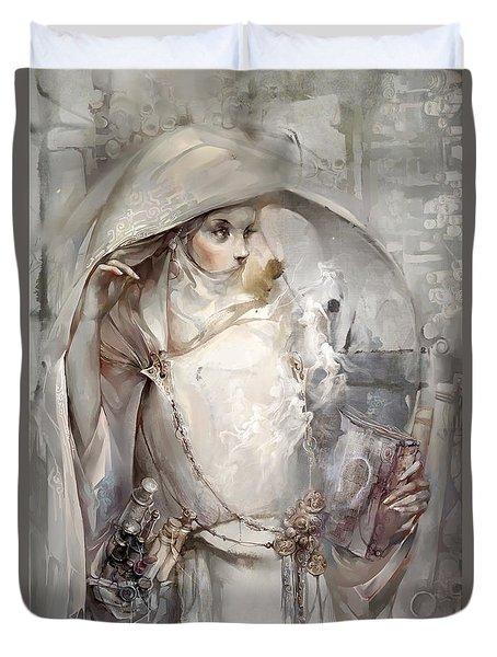 Duvet Cover featuring the digital art Soul by Te Hu