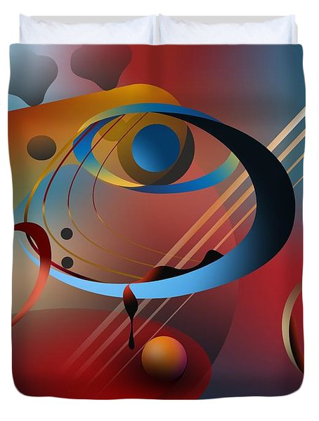 Sound Of Bass Guitar Duvet Cover by Leo Symon