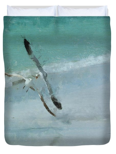 Sound Of Seagulls Duvet Cover by Claire Bull