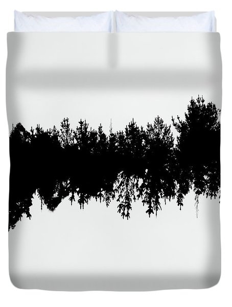 Sound Waves Made Of Trees Reflected Duvet Cover
