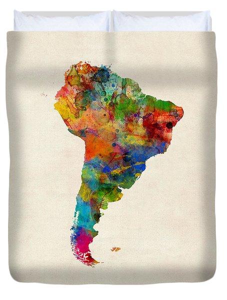 South America Watercolor Map Duvet Cover