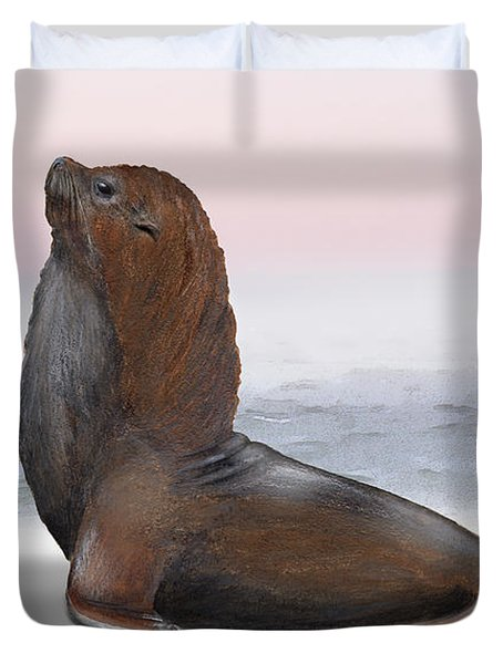 Duvet Cover featuring the painting South American Fur Seal Arctocephalus Australis Male - Marine - Seebaer  by Urft Valley Art