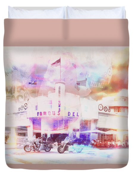 South Beach Miami Jerry's Deli Duvet Cover
