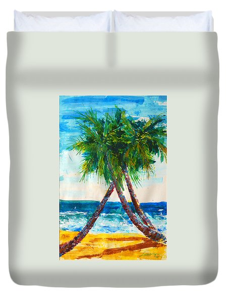 South Beach Palms Duvet Cover