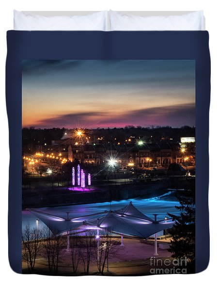 South Bend River Sunrise Duvet Cover