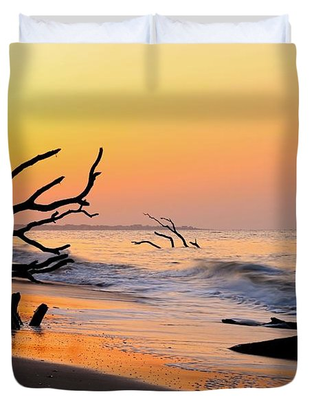 South Carolina Boneyard Beach Duvet Cover