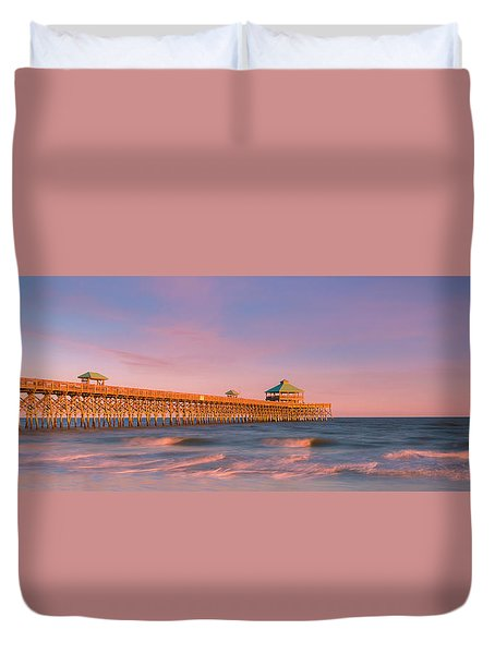 Duvet Cover featuring the photograph South Carolina Fishing Pier At Sunset Panorama by Ranjay Mitra