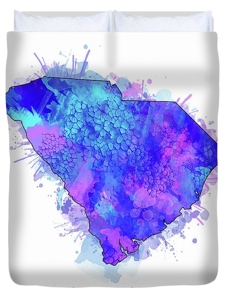 South Carolina Map Watercolor 2 Duvet Cover
