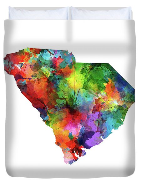 South Carolina Map Watercolor Duvet Cover