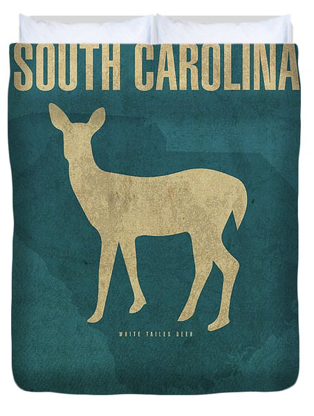 South Carolina State Facts Minimalist Movie Poster Art Duvet Cover