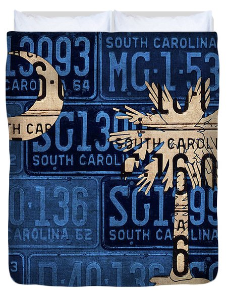 South Carolina State Flag Vintage License Plate Art Duvet Cover by Design Turnpike