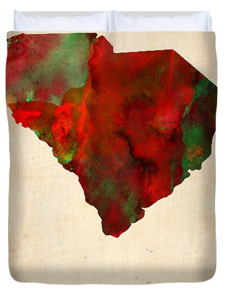 South Carolina Watercolor Map Duvet Cover by Naxart Studio