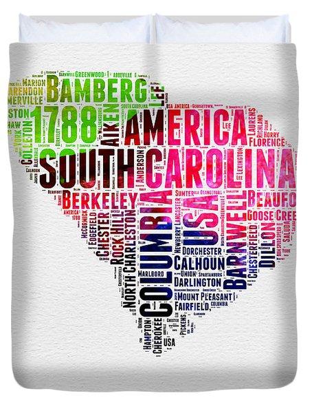 South Carolina Watercolor Word Cloud Duvet Cover