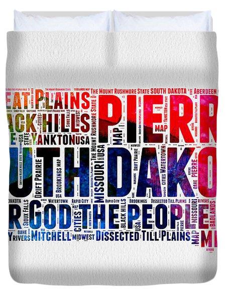 South Dakota Watercolor Word Cloud Duvet Cover