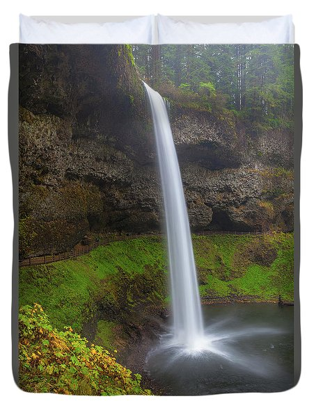 South Falls At Silver Falls State Park Duvet Cover by David Gn