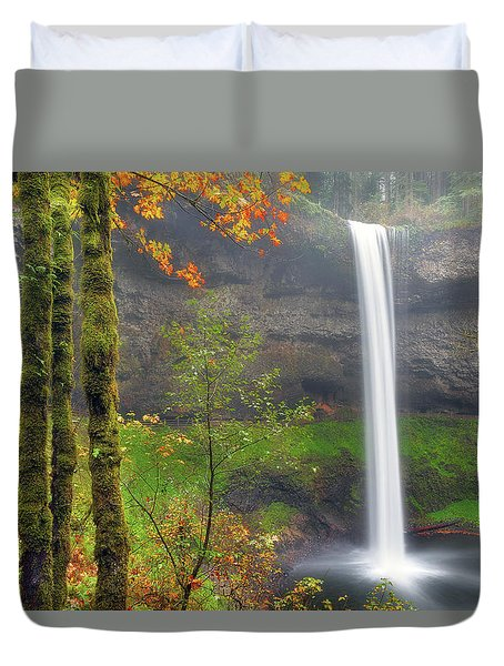 South Falls On A Drizzly Day Duvet Cover by David Gn