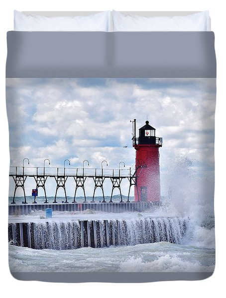 South Haven Lighthouse Duvet Cover