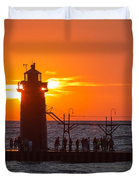 South Haven Michigan Sunset Duvet Cover