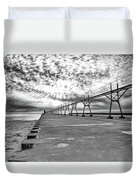 South Haven Pier Wide Angle Duvet Cover
