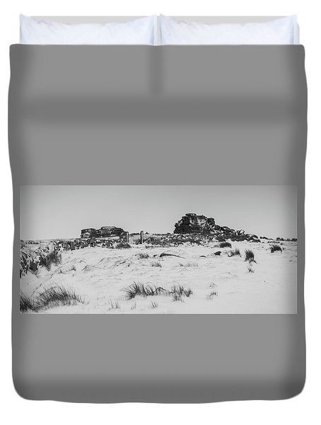 South Hessary Tor In The Snow Duvet Cover