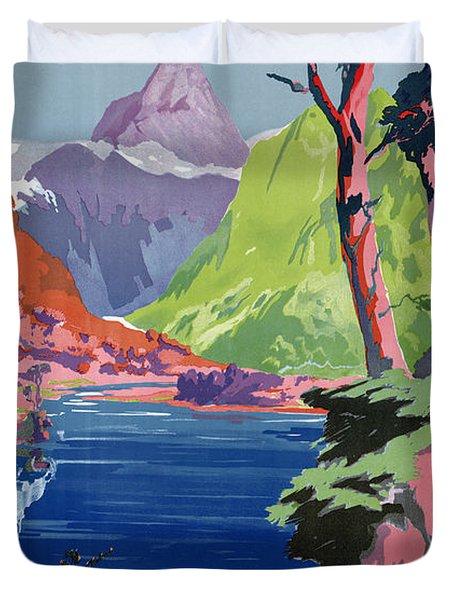 South Island New Zealand Vintage Poster Restored Duvet Cover