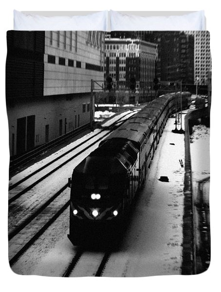 South Loop Railroad Duvet Cover by Kyle Hanson