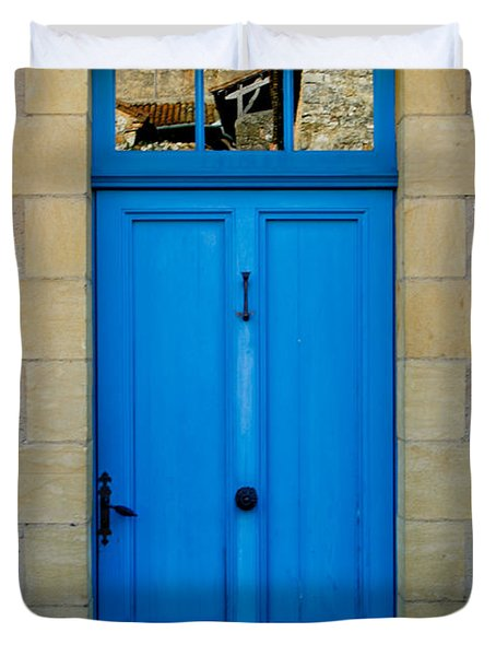 South Of France Rustic Blue Door  Duvet Cover by Georgia Fowler
