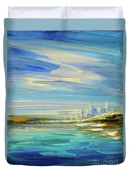 Duvet Cover featuring the painting South Pacific by Tatiana Iliina
