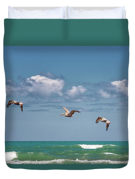 South Padre Island Pelicans Duvet Cover