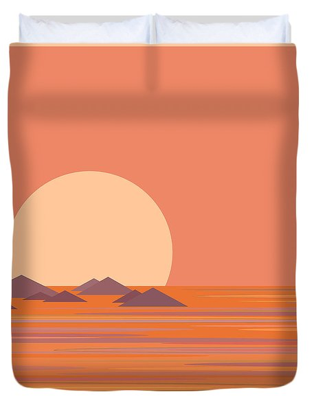 South Sea Morning Moon Duvet Cover
