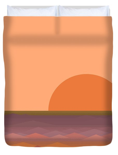 Duvet Cover featuring the digital art South Sea Sunrise by Val Arie