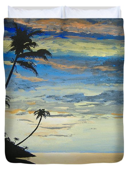 Duvet Cover featuring the painting South Sea Sunset by Norm Starks