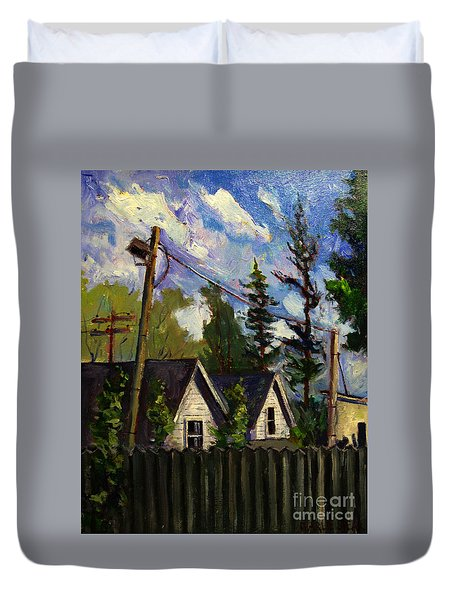Duvet Cover featuring the painting South Shore Line Backyards by Charlie Spear